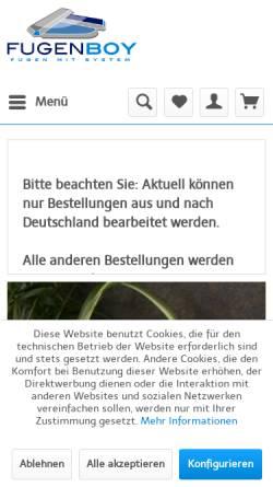 Vorschau der mobilen Webseite www.fugenboy.de, Flux-Werkzeuge GmbH