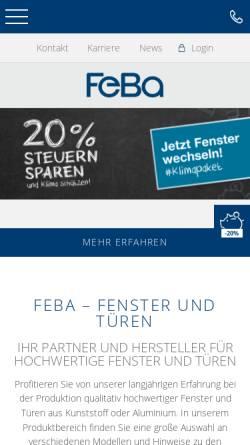 Vorschau der mobilen Webseite www.feba.de, FeBa Fensterbau GmbH