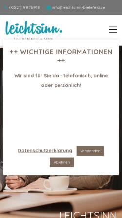 Vorschau der mobilen Webseite www.leichtsinn-bielefeld.de, Leichtsinn - Training, Coaching & Beratung
