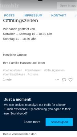 Vorschau der mobilen Webseite www.cafehansen.de, Cafe Hansen GmbH & Co.KG