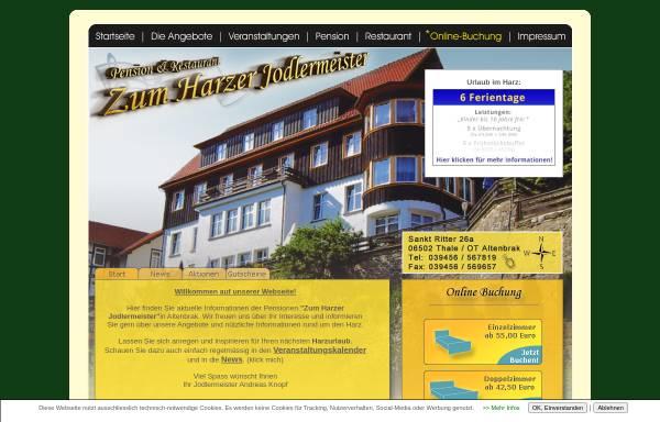 Vorschau von www.zum-harzer-jodlermeister.de, Pension & Restaurant Zum Harzer Jodlermeister
