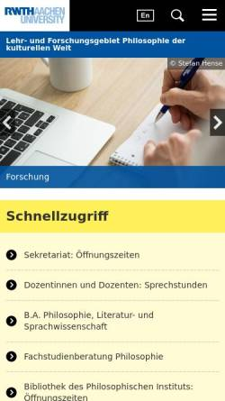 Vorschau der mobilen Webseite www.philosophie.rwth-aachen.de, Philosophisches Institut der RWTH Aachen