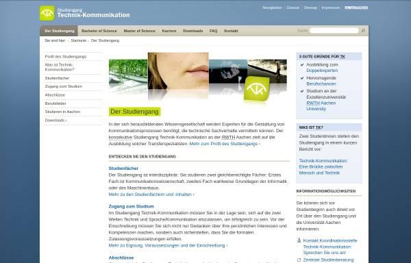 Vorschau von www.tk.rwth-aachen.de, Studiengang Technik-Kommunikation