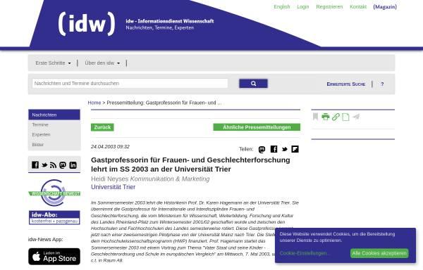 Vorschau von idw-online.de, idw - Professorin für Frauen- und Geschlechterforschung