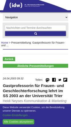 Vorschau der mobilen Webseite idw-online.de, idw - Professorin für Frauen- und Geschlechterforschung