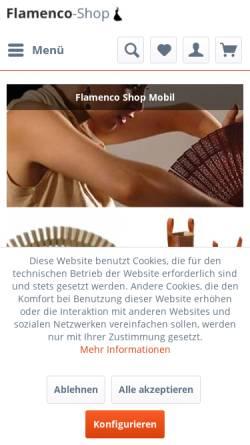 Vorschau der mobilen Webseite www.flamenco-shop.de, Flamenco Shop, Rüdiger Zietz