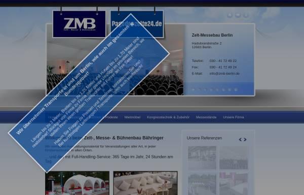 Vorschau von www.zmb-berlin.de, Zelt-, Messe- & Bühnenbau Bähringer