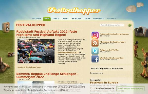 Vorschau von www.festivalhopper.de, Festival News