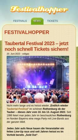 Vorschau der mobilen Webseite www.festivalhopper.de, Festival News