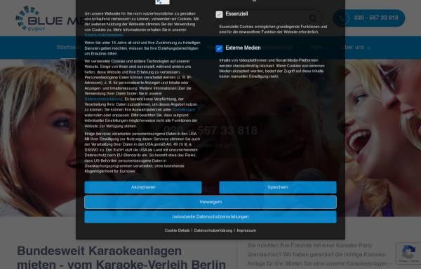 Vorschau von www.karaoke-verleih.com, Karaoke-Verleih Berlin, Blue Media Veranstaltungstechnik GmbH