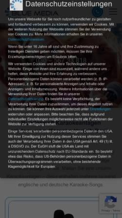 Vorschau der mobilen Webseite www.karaoke-verleih.com, Karaoke-Verleih Berlin, Blue Media Veranstaltungstechnik GmbH