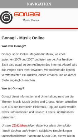 Vorschau der mobilen Webseite www.gonagi.de, Gonagi Musik Blog