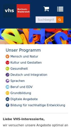 Vorschau der mobilen Webseite www.vhs-beckum-wadersloh.de, Volkshochschule Beckum - Wadersloh