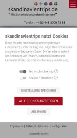 Vorschau der mobilen Webseite www.skandinavientrips.de, Club Aktiv Erlebnisreisen