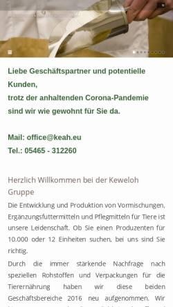 Vorschau der mobilen Webseite www.keweloh-tierernaehrung.de, Keweloh Tierernährung GmbH & Co KG