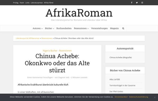 Vorschau von www.afrikaroman.de, Okonkwo oder Das Alte stürzt