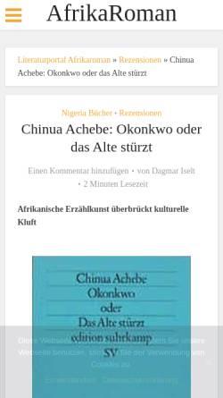 Vorschau der mobilen Webseite www.afrikaroman.de, Okonkwo oder Das Alte stürzt