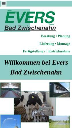 Vorschau der mobilen Webseite www.evers-bad-zwischenahn.de, Gerd Evers GmbH