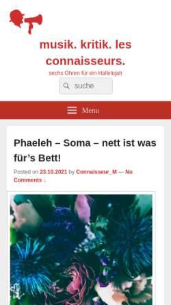 Vorschau der mobilen Webseite www.raus-aus-der-prostitution.de, Musik. Kritik. Les Connaisseurs.