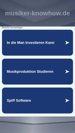 Vorschau der mobilen Webseite www.musiker-knowhow.de, Musiker Knowhow