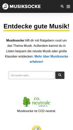 Vorschau der mobilen Webseite www.musiksocke.de, Musiksocke.de