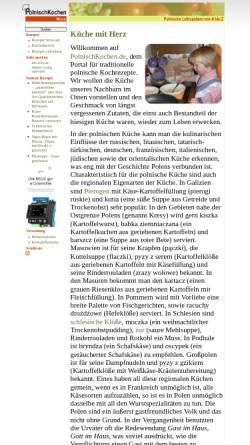 Vorschau der mobilen Webseite polnischkochen.de, Polnische Küche