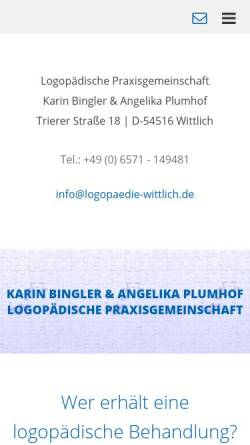 Vorschau der mobilen Webseite www.logopaedie-wittlich.de, Logopãdische Praxisgemeinschaft Karin Bingler und Angelika Plumhof