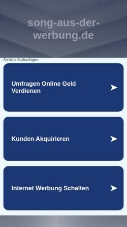 Vorschau der mobilen Webseite www.song-aus-der-werbung.de, Song aus der Werbung