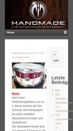 Vorschau der mobilen Webseite www.handmadedrums.de, HM Drums, Inh. Holger Reith