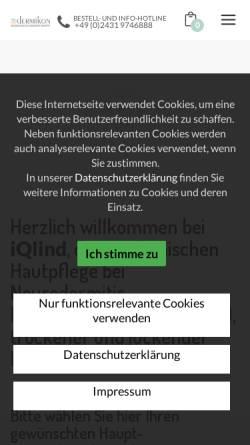 Vorschau der mobilen Webseite www.iqlind.de, iQlind.de - Intensiv Hautpflege bei Neurodermitis und Schuppenflechte