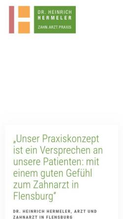 Vorschau der mobilen Webseite www.zahnarzt-hermeler-flensburg.de, Dr. Heinrich Hermeler