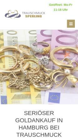 Vorschau der mobilen Webseite www.goldankauf-ge.de, Trauschmuck Sperling GmbH