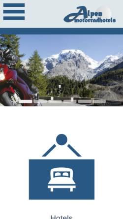 Vorschau der mobilen Webseite www.alpen-motorradhotels.com, Alpen-Motorradhotels