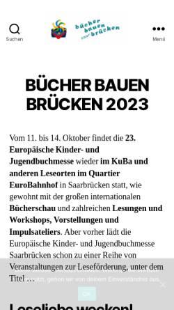 Vorschau der mobilen Webseite www.buchmesse-saarbruecken.eu, Europäische Kinder- und Jugendbuchmesse