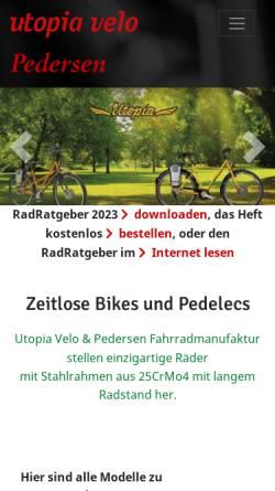 Vorschau der mobilen Webseite www.utopia-velo.de, Utopia Velo - Inge Wiebe-Klagges & Ralf Klagges GbR