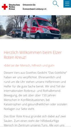 Vorschau der mobilen Webseite www.drk-elz.de, DRK Ortsverein Elz
