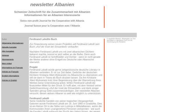 Vorschau von www.albanien.ch, Ferdinand Lahollis Buch