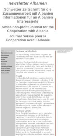 Vorschau der mobilen Webseite www.albanien.ch, Ferdinand Lahollis Buch