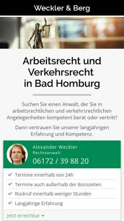 Vorschau der mobilen Webseite www.kanzlei-in-bad-homburg.de, Rechtsanwaltskanzlei Weckler & Berg