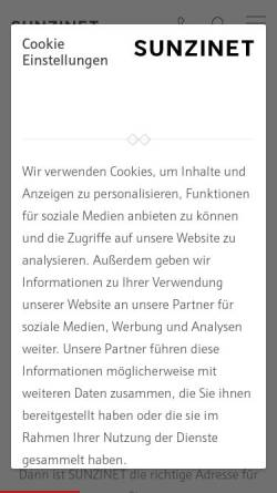 Vorschau der mobilen Webseite www.sunzinet.com, sunzinet AG