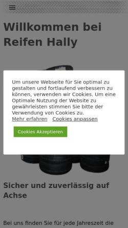 Vorschau der mobilen Webseite www.reifen-hally.de, Reifen Hally - Kfz-Zubehör und Handel