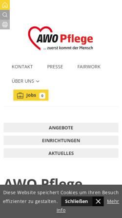 Vorschau der mobilen Webseite www.awo-pflege-sh.de, AWO Pflege Schleswig-Holstein gGmbH