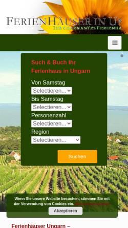 Vorschau der mobilen Webseite www.ferienhauserinungarn.de, Ferienhäuser in Ungarn