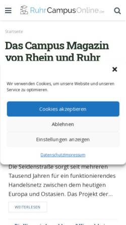 Vorschau der mobilen Webseite www.ruhrcampusonline.de, RuhrCampusOnline