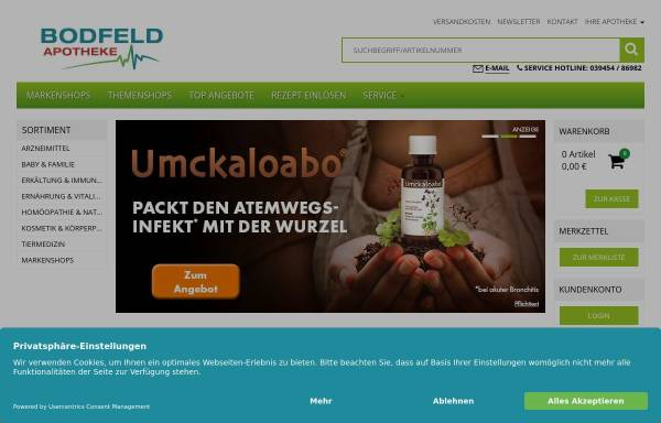 Vorschau von www.bodfeld-apotheke.de, Bodfeld-Apotheke