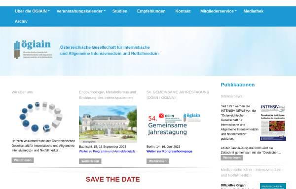 Vorschau von www.intensivmedizin.at, Österreichische Gesellschaft für Internistische Intensivmedizin - ÖGIAIM