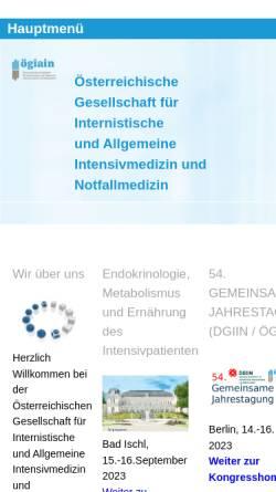 Vorschau der mobilen Webseite www.intensivmedizin.at, Österreichische Gesellschaft für Internistische Intensivmedizin - ÖGIAIM