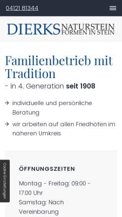Vorschau der mobilen Webseite www.dierks-naturstein.de, Dierks Naturstein GmbH