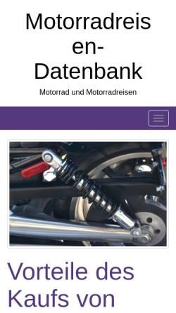 Vorschau der mobilen Webseite www.motorradreisendatenbank.de, Motorrad-Reisen-Datenbank