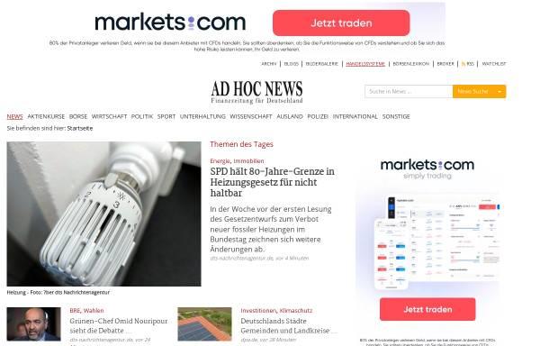 Vorschau von www.ad-hoc-news.de, Ad Hoc News